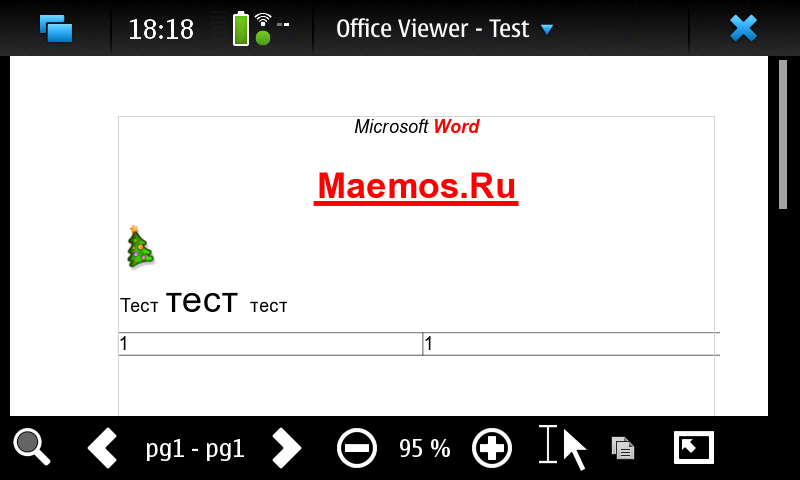 Freoffice для N900 - KOffice Office Viewer для Maemo5